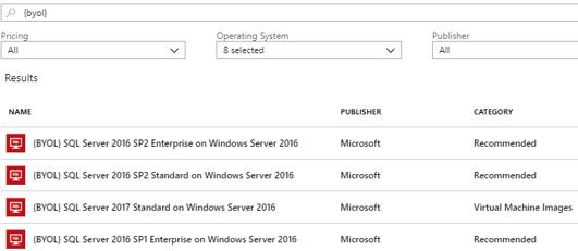 BYOL SQL Server images