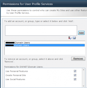 Permission settings User Profile Service Internal Domain