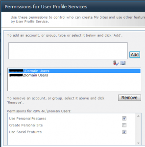 Permission settings User Profile Service External Domain