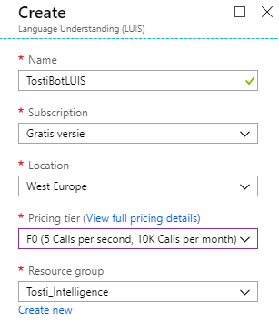Creating a LUIS service in Azure