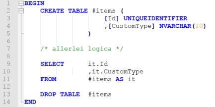 Voorbeeld simpele stored procedure