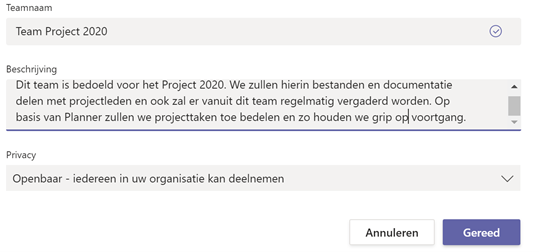 Afbeelding2 - Microsoft Teams - Teamnaam beschrijving en privacy