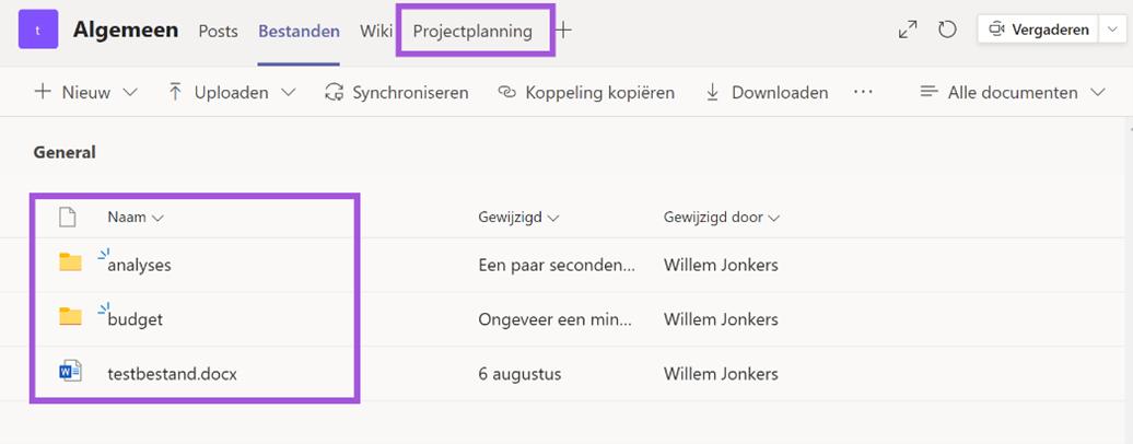 Afbeelding3 - Projectplanning als tab toegevoegd