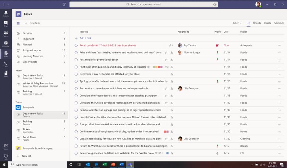 Screenshot - Teams tasks