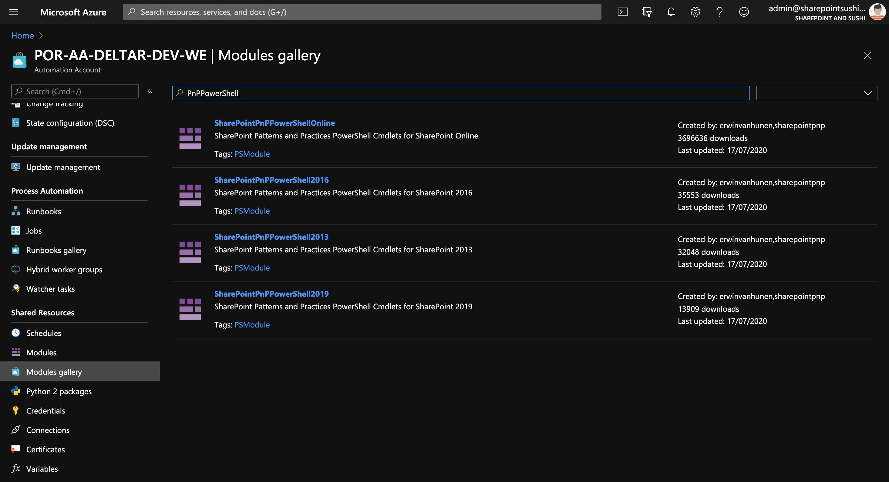 PnP Modules installeer je vanuit de Modules Gallery
