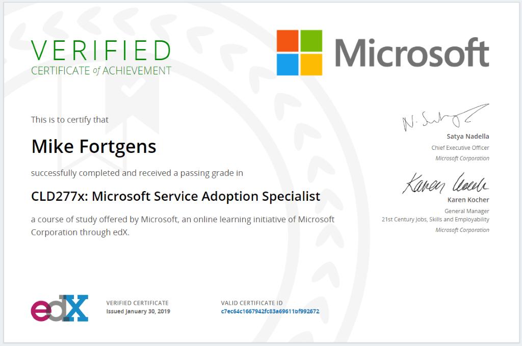 Microsoft Service Adoption Specialist Certificate